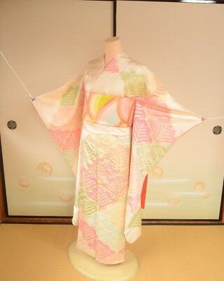 Furisode Silk Kimono Women & Silk Fukuro Obi SET / Japanese vintage Geisha /158