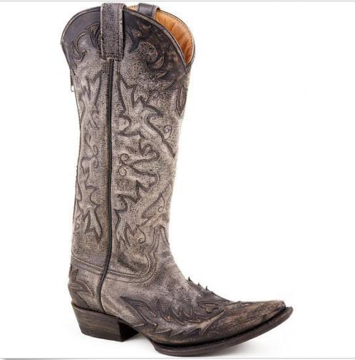 LADIES WASHED AND DISTRESSED POINTED TOE STETSON WESTERN stivali 12-021-6115-0527