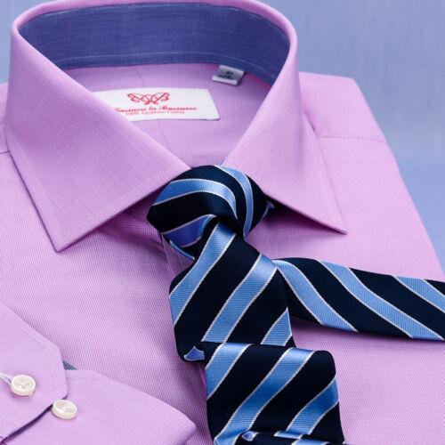 Solid Pink Mens Formal Business Dress Shirt Blue Designer Inner-Lining Fashion