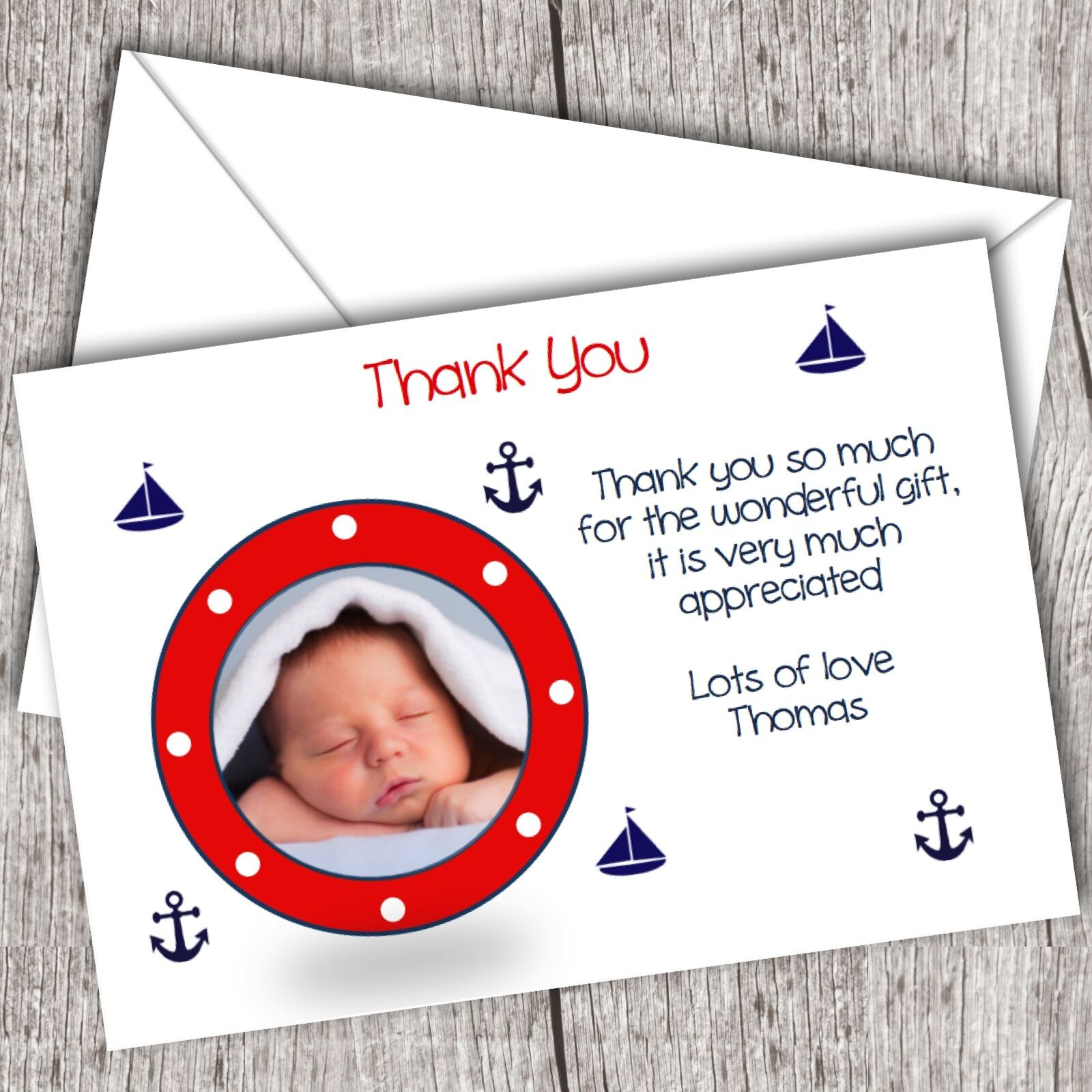 Personalised PHOTO Thank You Cards  Boy (Nautical Sailor)