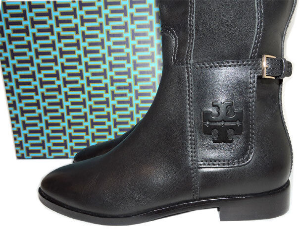 Tory Burch Wyatt Leather Riding démarrage Flat Equestrian Stretch démarrageies 10.5 Tall