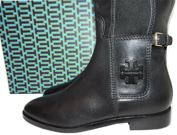 610adc2d1bce Tory Burch Wyatt Leather Riding Boot Flat Equestrian Stretch BOOTIES 10.5  Tall for sale online
