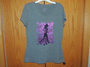 Women-039-s-Tek-Gear-Gray-Short-Sleeve-T-Shirt-Size-M