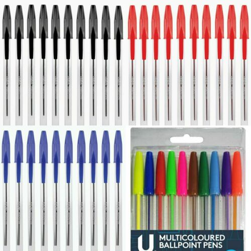 Blue Black Ballpoint Pens Biros Pens Medium Tip Smooth Writing Multicoloured Pen