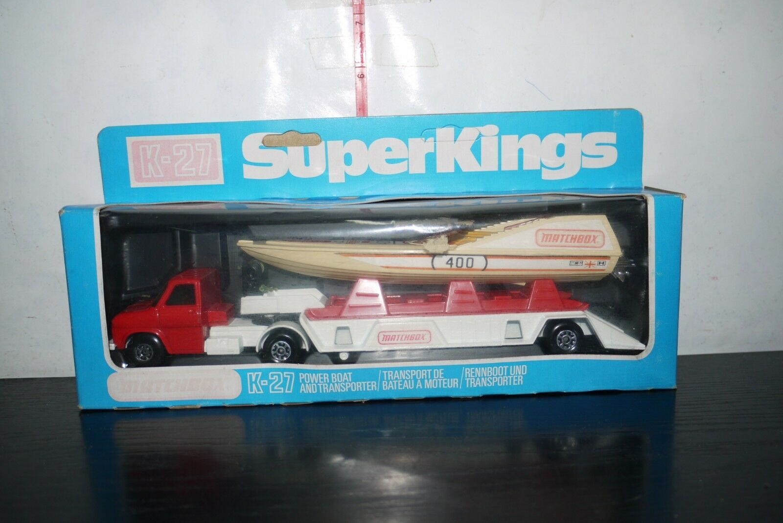 VINTAGE 1979 MATCHBOX SUPER KINGS K-27 POWERBOAT & TRANSPORTER BOXED