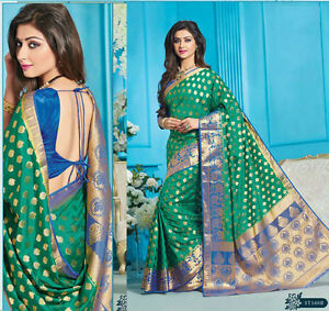 wedding Wear silk Saree Indian ethnic zari blouse Bollywood bridal green Sari