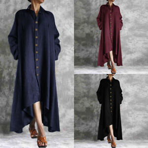 ZANZEA-Women-Buttons-Down-Long-Shirt-Dress-Asymmetrical-Waterfall-Midi-Dress