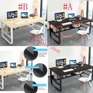 Pleasant Details About 2 Colors Office Desk Pc Computer Table Metal With Mdf Wood Laptop Furniture Home Home Remodeling Inspirations Basidirectenergyitoicom