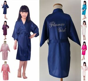 Flower-Girl-Kids-Silk-Satin-Robe-Kimono-Wedding-Party-Sleepwear-Gown-Bathrobe