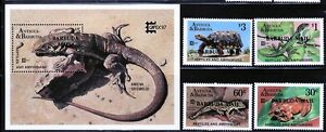 "Barbuda Sc 923-27 NH ""Barbuda Mail"" overprint set of 1987 - Reptiles"