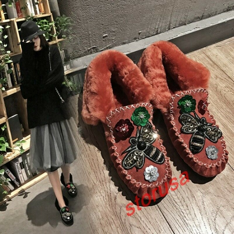 Womens Floral Flats Winter Warm Snow Boots Casual Cuffed moccasin Driving Shoes
