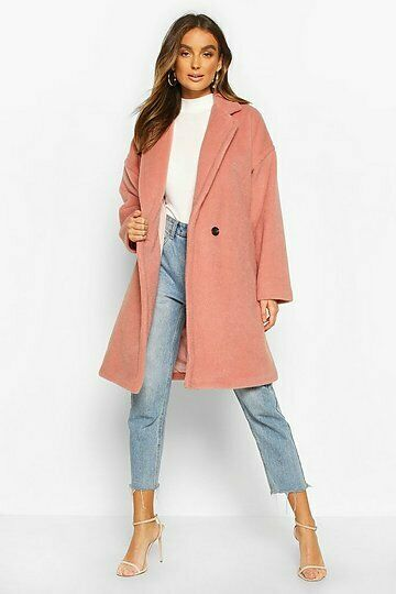 BOOHOO WOMENS LUXE BRUSHED WOOL LOOK BUTTON COAT IN DUSKY PINK SIZE UK 12 - NEW