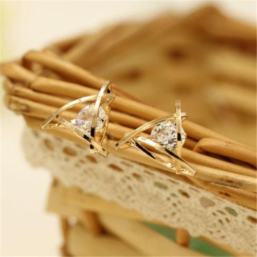 1 Pair Crystal Zircon Gold Triangle Stud Earrings For Women Silver Gold Earrings