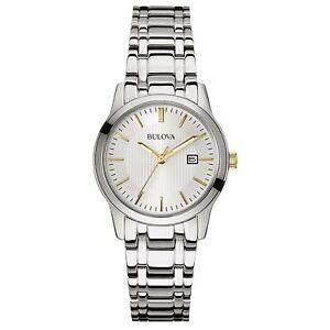 Bulova Women's Quartz Date Calendar Date Silver-Tone 30mm Watch 98M121