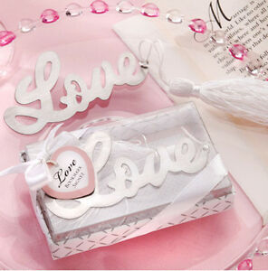 """1x Exquisite Letter """"Love"""" Alloy Bookmark With Ribbon Box As Gift"""
