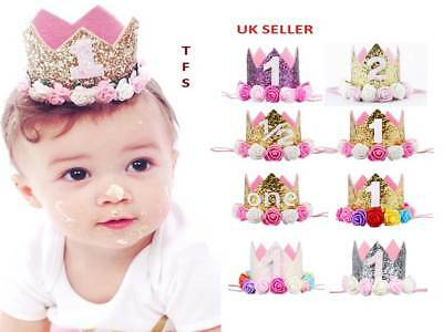 Princess Baby Girl 1st Birthday Flower Crown Party One/&Two Year Hairband Tiara .