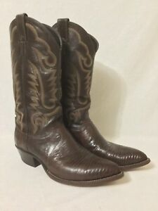 4014dbba786 Details about JUSTIN EXOTIC Lizard BROWN COWBOY BOOTS 9D