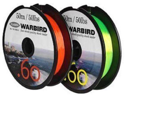 environ 22.68 kg POUR MOULINET EN JAUNE Fladen Warbird Fishing Shock Leader//mono ligne 50 LB