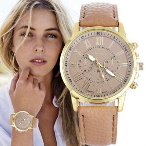 Mode-Geneva-Dame-Femme-Bracelet-Cuir-Quartz-Acier-Inoxydable-Analogique-Montre