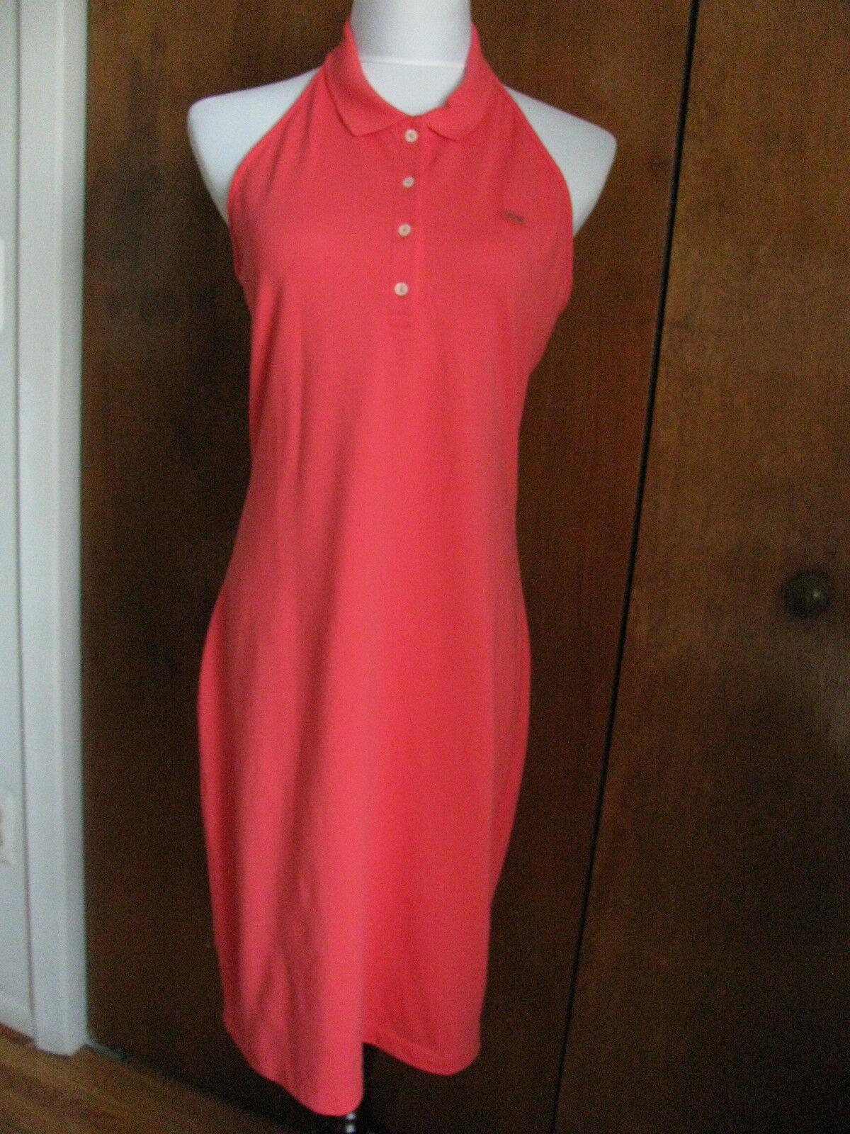 Lacoste s röda bomullsbyglande klänning US12  Euro44 NWT