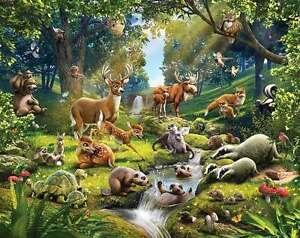 Das Bild Wird Geladen Fototapete Kinderzimmer Tiere Des Waldes Waldtiere Reh Biber