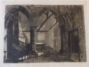 Original-Old-Etching-of-an-INTERIOR-OF-AN-OLD-HOUSE-in-Suffolk-signed
