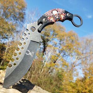 HUNTING FIXED BLADE KNIFE BIKER SKULL HANDLE STONEWASH BLADE FINGER HOLE SHEATH