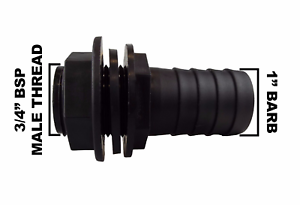 Tank-Drum-outlet-to-1-034-barbed-hose-tail-waterbutt-overflow-connector-PACK-OF-2