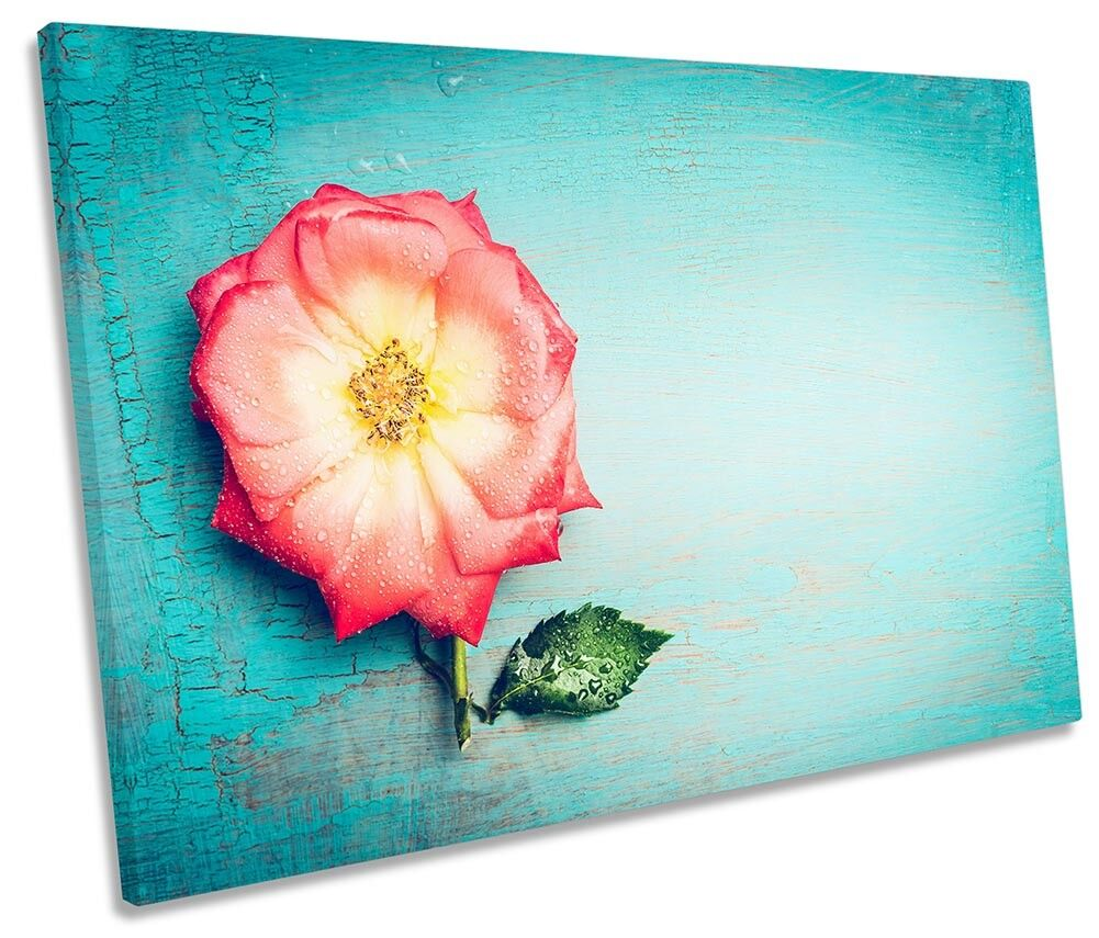 Blau Flower Floral Picture SINGLE CANVAS WALL ART Print