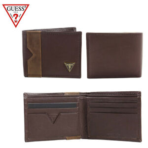 Guess-Men-039-s-Brown-Leather-Billfold-Brown-Wallet