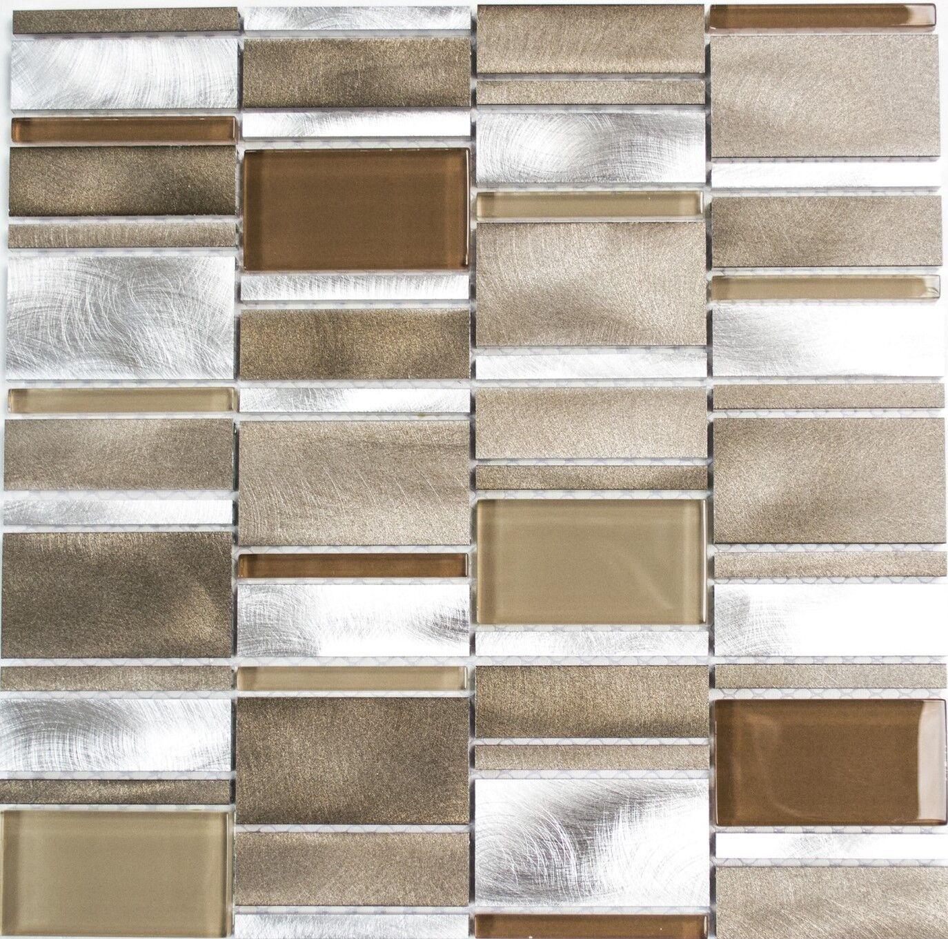 Mosaik Fliese Aluminium Transluzent Kombination Alu Glas   49-1202_f   10 Matten