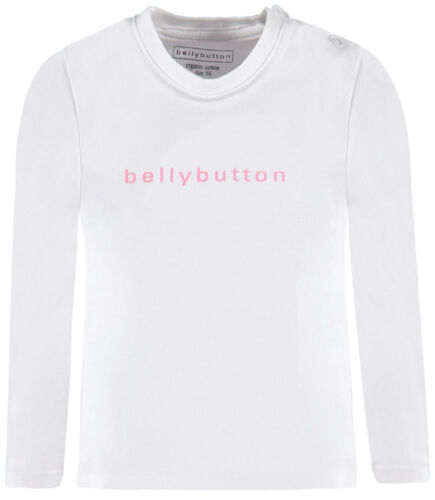 62 68 74 80 86 NEU! bellybutton® Baby Langarmshirt Shirt Weiß//Rosa Gr