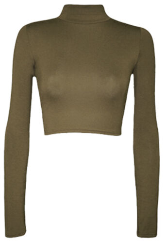 NUOVO Donna Polo Crop Top Manica Lunga Ragazze ROLL NECK SHORT Crop Camicia Top 8-14