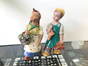 "1930s Maria Rahmer Pair Of Art Deco Ceramic Figurines ""shoeshine Boy & Florist"" Art Deco European Pottery"