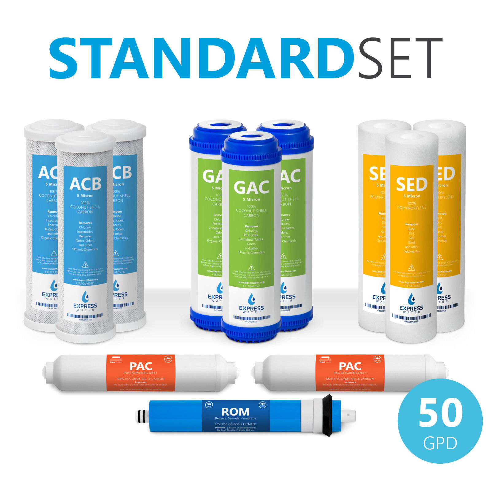 Express Water Reverse Osmosis Replacement Water Filters Set + 50 GPD RO Membrane