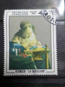 FRANCE 1982, timbre 2231, TABLEAU VERMEER, DENTELLIERE oblitéré, VF STAMP EX D