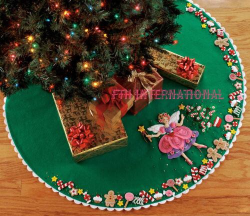 "Bucilla Sugar Plum Fairy ~ 43/"" Felt Christmas Tree Skirt Kit #85445 Candy Cookie"