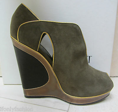NIB YSL Yves Saint Laurent MAGGY 105 FS WEDGE PLATFORM Peep Booties Shoes 37.5