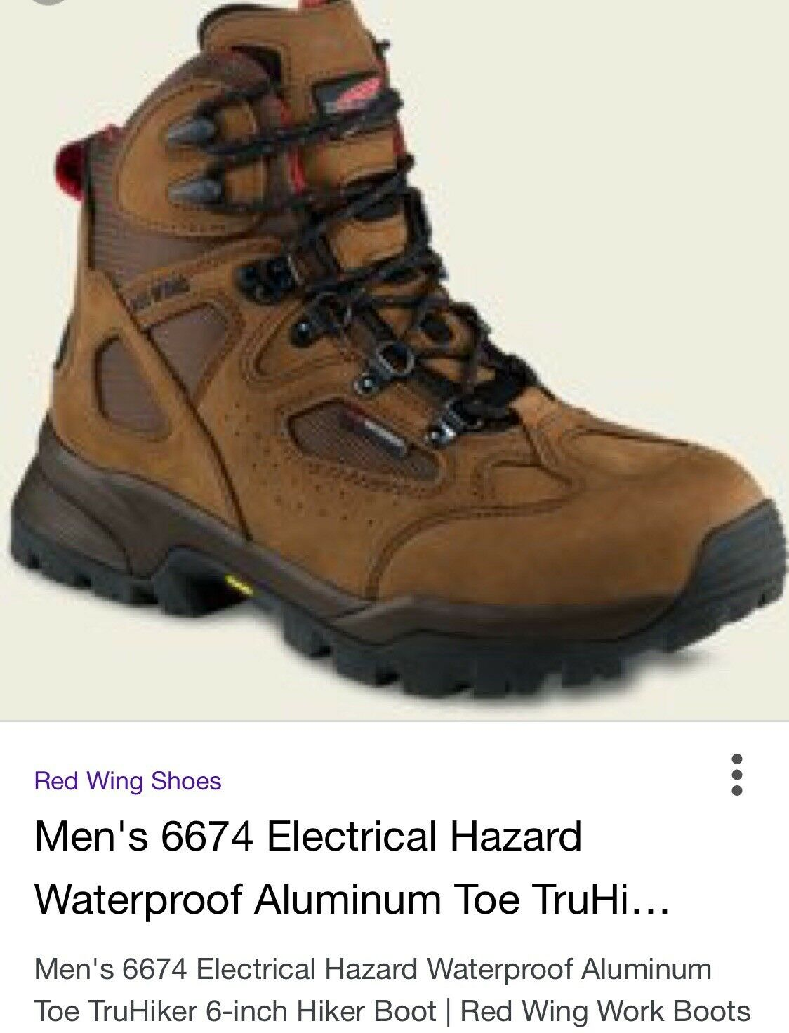 New Red Wings Electrical Hazard Boots Aluminum Toe - size 8' (mens)