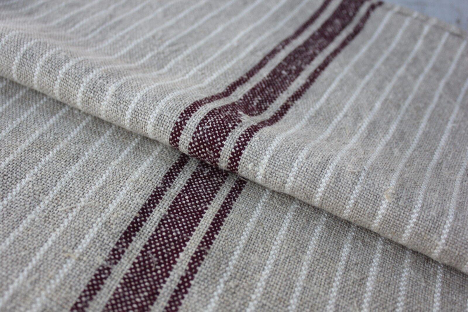 Raspberry pink  RARE grain sack grainsack old feed bag Washed linen cotton hemp organic Linen