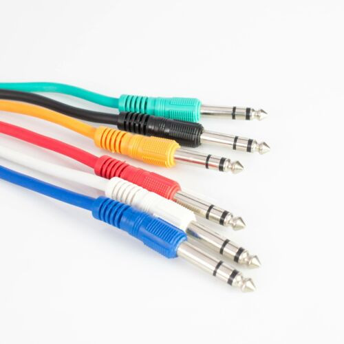 verschiedenfarbige Patchkabel Stereo Audiokabel Patchcord 6 x 0,6 m 6,3 mm