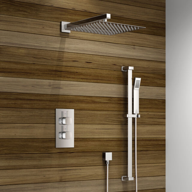Thermostatic Concealed Square or Round Mixer Shower Head Chrome Valve Set