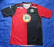 BLACKBURN ROVERS away shirt by UMBRO 2007-2008 /red-black//men L