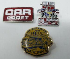 3-Vintage-Pins-Car-Craft-1981-Street-Machine-Nationals-Hot-Rod-84-Nationals