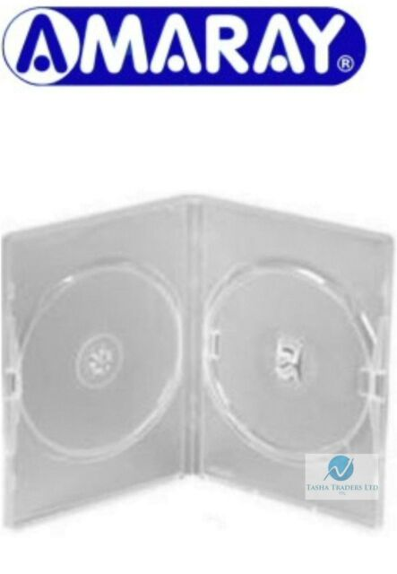 1 Double Clear DVD Case 14 mm Spine New Replacement Cover Holds 2 Disks Amaray
