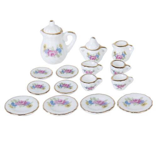 15pcs Dollhouse Miniature Dining Ware Porcelain Tea Set Dish Cup Plates 12th