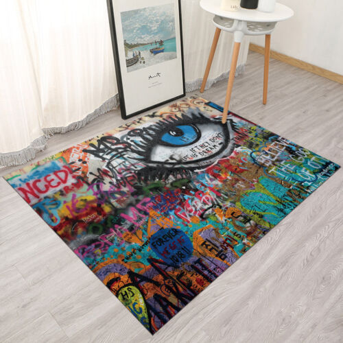 Colorful Urban Graffiti Wall Big Eye Pattern Area Rugs Living Room Floor Mat Rug