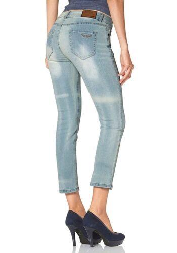 36, Blau J3106 Arizona Damen Capri Stretch Jeans Jeanshose 7//8
