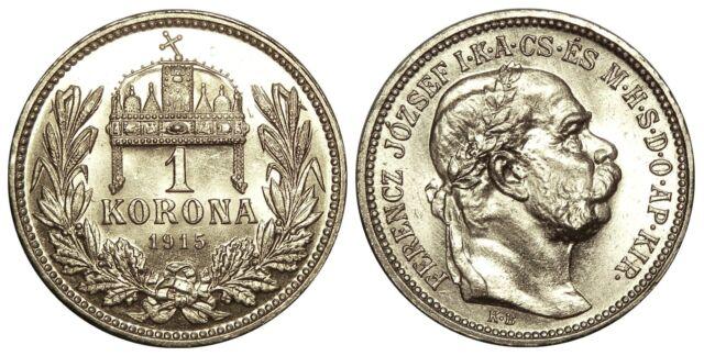 HUNGARY 1 KORONA 1915 silver coin KM#492 Ungarn UNC