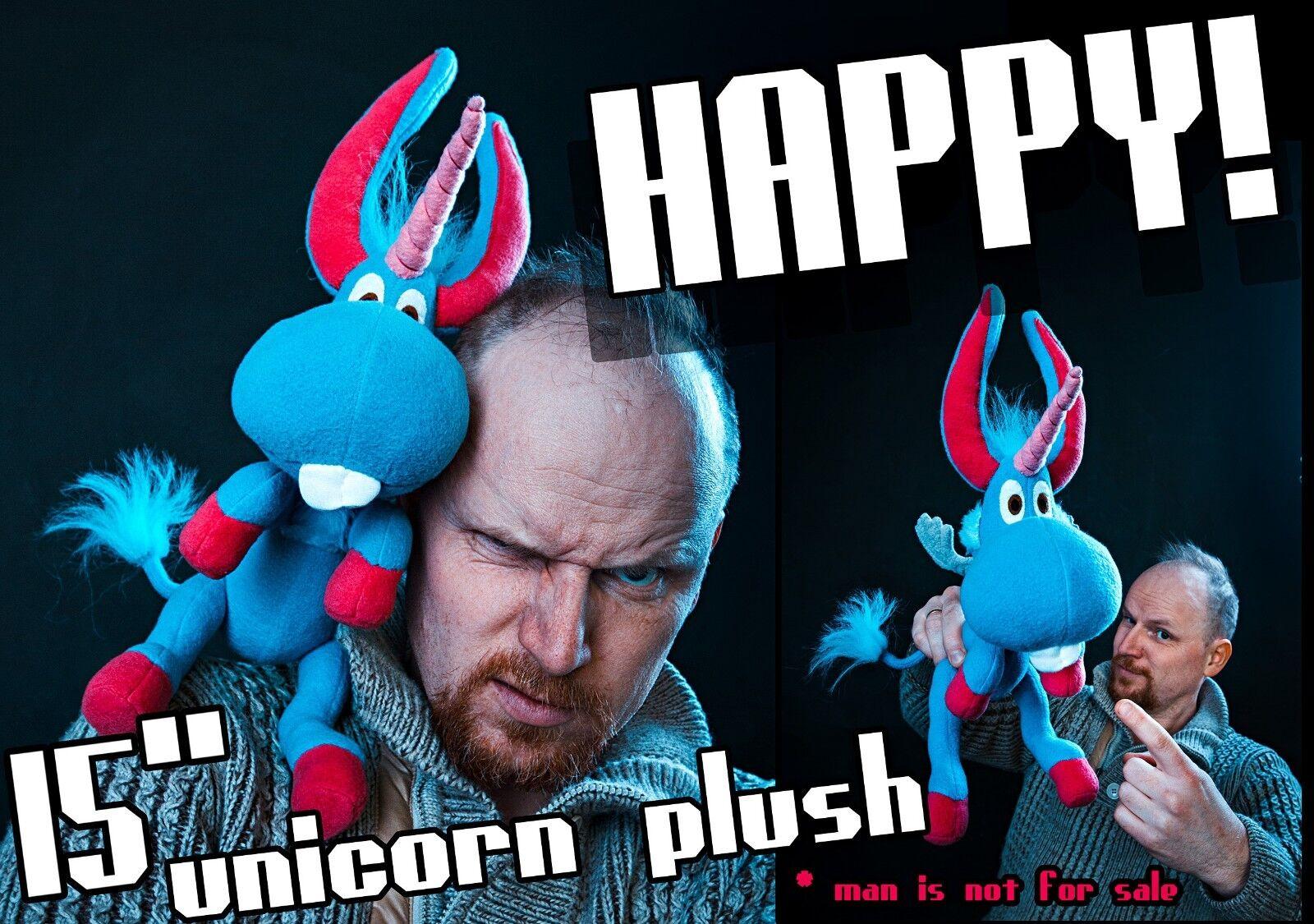 Happy Unicorn Plush handmade toy , 15 in high, Happy  Syfy inspiROT doll